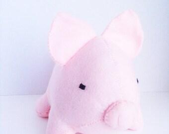 ON SALE Large light pink pig stuffed animal