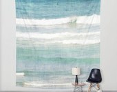 Ocean Waves Tapestry, Teal Ocean Tapestry, Aqua Ocean Wall Hanging, Seascape Wall Tapestry, Beach Tapestry, Blue Ocean Wall Tapestry, White