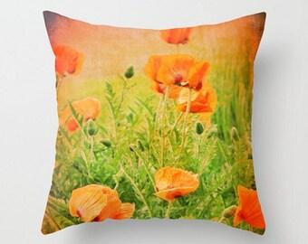 Poppy Throw Pillow, Garden Poppies Pillow Cover, Oriental Poppy Cushion Cover, Orange Poppies Pillow, Poppies Home Decor, 16x16 18x18 20x20