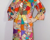 Vintage 60s 70s Patchwork Quilt Coat / Unique Crazy Quilt Dress / 1970s Boho Wearable Art Clothing / OOAK Hippie Coat of Many Colors
