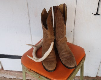 Brown Leather Cowboy Boots Justin Brand Womans Size 6