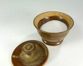 Ceramic sugar bowl jar - pottery sugar jar - stoneware sugar bowl with lid - ceramic sugar jar - pottery sugar bowl - cream and brown