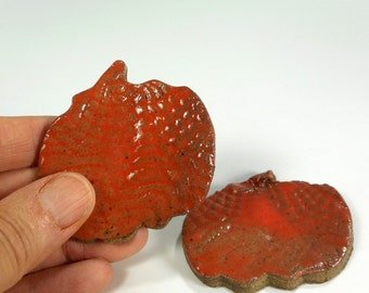 Ceramic tea bag holder spoon rests, pottery pumpkin shaped spoon rests, ceramic pumpkin, pottery chopstick rests set of 2 orange glaze