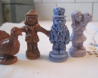 Lot of 4 Wade Holiday Months Mother's Day Halloween 4th of July Thanksgiving Figures Wade Pottery