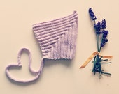 Pixie Hat in lavender- size newborn-6 months- ready to ship