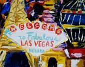 "Viva Las Vegas Original Oil Painting on canvas.  Fine art by Michelle Cain 8""x10"" Impasto palette knife impressionism.  Reserved for VICKI."