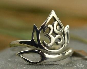 Lotus Flower & Ohm Adjustable Ring - C29, Zen, Yoga Spirit Rings