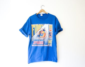 Vintage Blue University of Kansas Jayhawks Final 4 Four Basketball T Shirt 1993