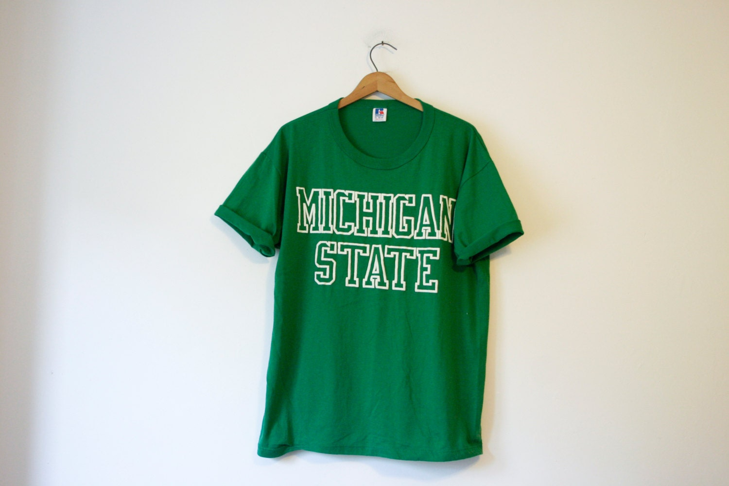 Vintage green michigan state spartans t shirt for Michigan state t shirts vintage