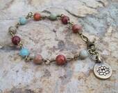 Jasper beaded chain bracelet with Lotus flower charm, Buddist flower, gemstone bracelet, bohemian hippie