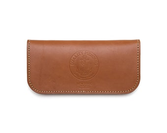 "QMC ""Skill Wins Favor"" Handmade Leather Biker Wallet - Natural Leather"