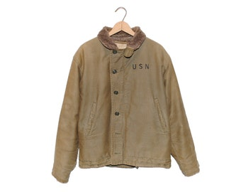 Vintage U.S.N. DH 57 Tan Authentic Deck Jacket Made in USA - Large
