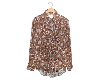 Vintage Wrangler Brown Bandana Print Western Button Up Shirt Made in USA - Large