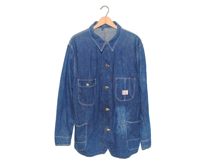 Vintage Workmaster Spiegel Chore Coat Dark Blue Denim Sanforized Jean Jacket Made in USA - Large (OS-DJ-7)