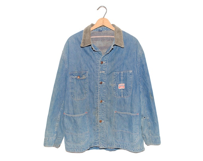 Vintage Distressed Pioneer Chore Coat Light Blue Denim Sanforized Wool Lined Jean Jacket Made in USA - Large (OS-DJ-9)