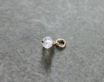 Moonstone Charm Pendant, 14K Gold Filled Wire Wrapped June Birthstone Charm - Add a Dangle