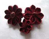 Red Sea Kanzashi Flower and Seashell Hair Pin Trio