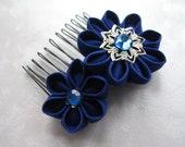 Royally Blue Kanzashi Flower Hair Comb