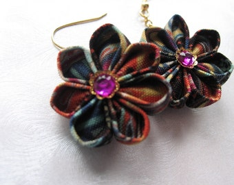 Colorful Profusion Kanzashi Flower Earrings