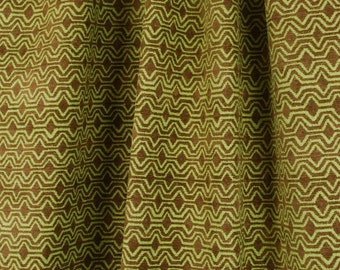 Mexico Twig Brown Lime Green Modern Geometric Chenille Upholstery Fabric