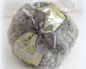 Gray Powder Puff - silver and gold satin brocade powderpuff - large pouf gris - by BonnyBubbles - gift boxed