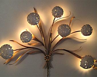 Rare 1950s Hydrangea Wall Light Hollywood Regency Gilded Brass Enamel Flowers