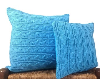 Cable Knit Pillows Sweater Pillow Covers Up Cycled Sweater Turquoise Cotton Pillow Set of 2 Decor Pillows 16 Inch Pillow 12 Inch Pillow
