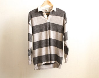 90s STRIPED rugby SOCCER henley THERMAL long sleeve