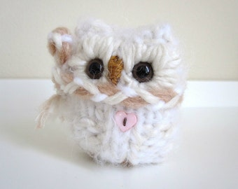 Little Winter Snow Owl, Plush Knitted Wool and Mohair Love Owl