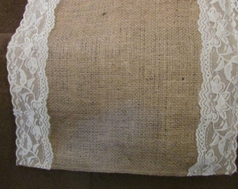 "Burlap and lace table runner, centerpiece, rustic chic, 12"" and 14"" wide"