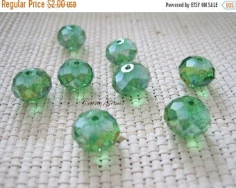 30% OFF SALE Green Chinese Crystal AB Faceted Rondelle 12mm, 10 pieces