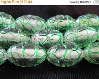 30% OFF SALE Silver Foil Green Lampwork Glass Egg shape Beads