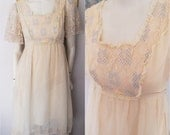 Vtg.70s Cream Lace Sheer Flutter Sleeve Midi Dress by Candi Jones.Size small.Bust 34-36.waist 26-28.