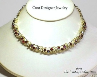 Coro Red AB Crystal Gold Leaf Choker Necklace with Pave Set Chaton Cut Crystals in Gold Leaves Motif - Vintage 1950's Designer Jewelry