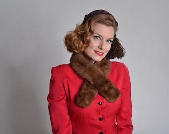 Vintage 1950s Ranch Mink Scarf - Glow Fur Collar - Winter Fashions