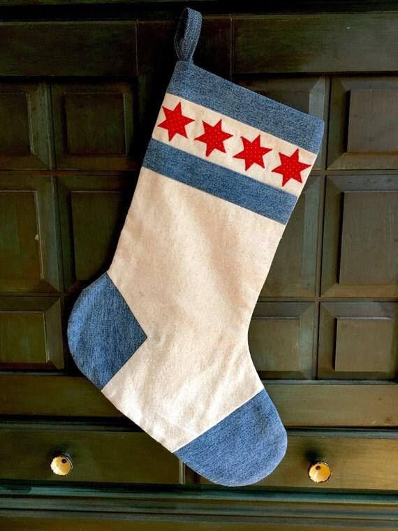 Handmade Chicago Flag Christmas Stocking