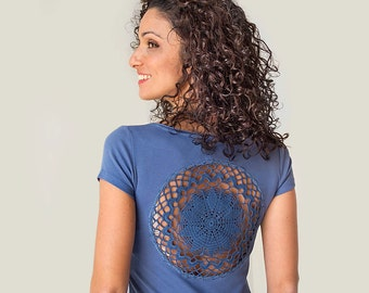 Denim Blue t-shirt with upcycled vintage crochet doily back - Size XS-S