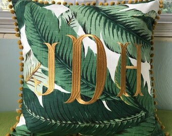 Monogrammed Banana Leaf Pillow