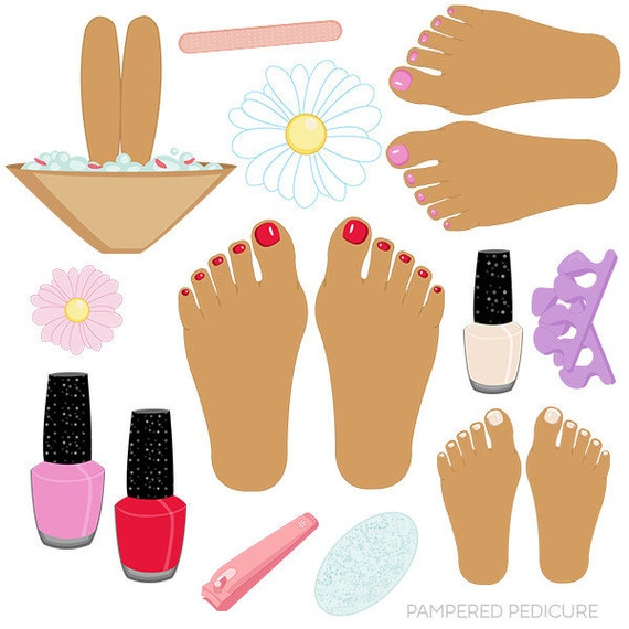 pampered pedicure v2 cute digital clipart commercial use ok rh etsy com pedicure chair clipart pedicure cartoon clipart