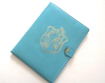 Robin's Egg Blue Portfolio, Vintage Vinyl Stationery Carry Folder with Gold Crest Illustration (A1)
