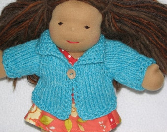 Doll Sweater for 10 inch Doll in Aqua - Turquoise  Blue Wool RTG