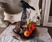 Witch Hat party table decor burlap tulle black Witches Brew crow floral witch hat Halloween centerpiece Fall decoration Country Chic