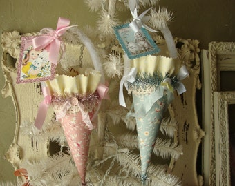 Easter Gift cone ornament hostess gift party favor paper mache cones candy containers tussie mussie Vintage style Easter paper ornament