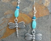 Blue Dragonfly Earrings, Turquoise Blue Dragonfly Sterling Silver Earrings, Blue Dragonfly Silver Dangle Earrings, Silver Dragonfly Earrings