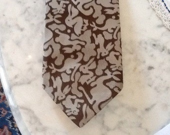 Vintage Kangaroos Pelicans Rabbits Tie Necktie Cravat Silver brown