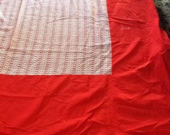 Vintage Red White Tablecloth Handmade Retro