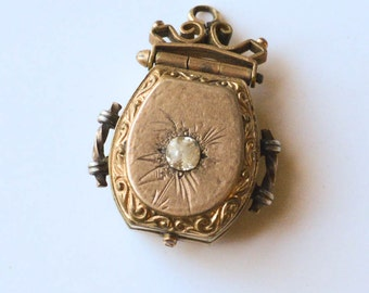 Antique Victorian Locket Gold Filled Locket Horseshoe Shaped Locket