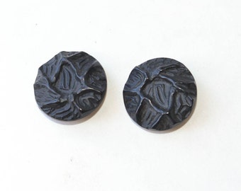 Black Buttons, Vintage Pair of Large Buttons
