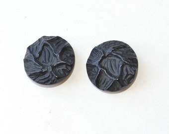 Black Vintage Buttons Pair of Large Buttons