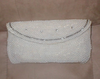 Vintage Ivory Pearl Beaded Clutch Purse